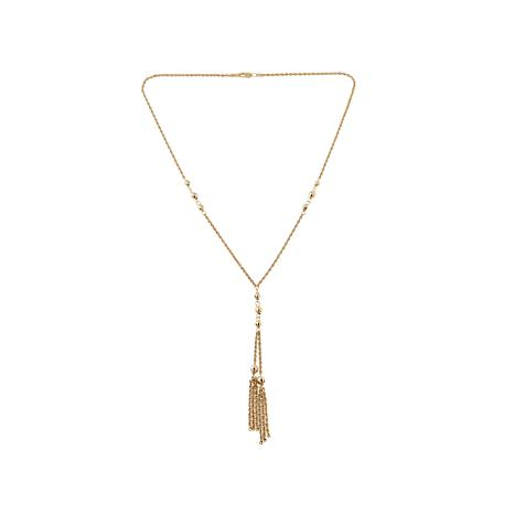 Passport to Gold 10K Gold Beaded Necklace with Tassel