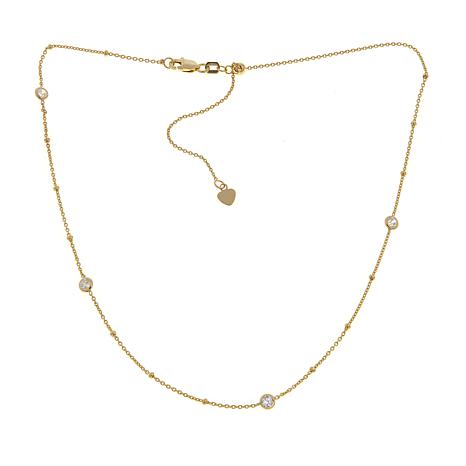 Passport to Gold 14K Gold CZ Station Choker Necklace