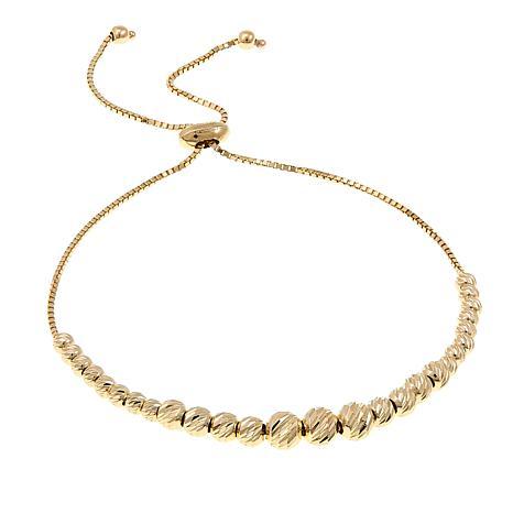 "Passport to Gold 14K Gold Diamond-Cut Bead Adjustable 10"" Bracelet"