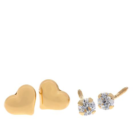 Passport to Gold 14K Kid's Heart and CZ Stud Earrings