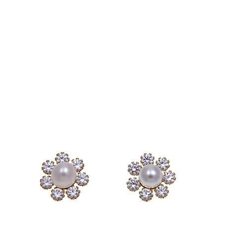 Pport To Gold 14k Kid S Pearl And Cz Flower Studs