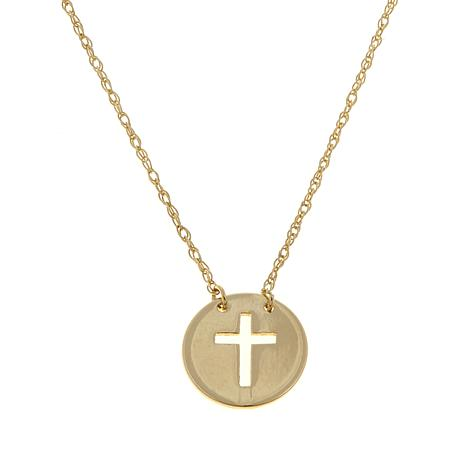 "Passport to Gold 14K Mini Cross Cutout 16"" Necklace"