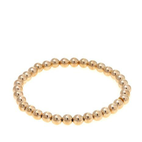 Pport To Gold 14k Polished Bead Stretch Bracelet