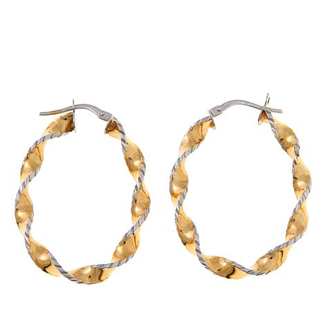 Pport To Gold 14k Textured Twisted Oval Hoop Earrings