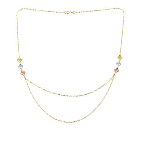 "Passport to Gold 14K Tri-Color Heart-Accented Double-Drop 18"" Necklace"