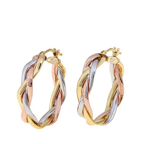 Passport to Gold 14K Tritone Braided Hoop Earrings