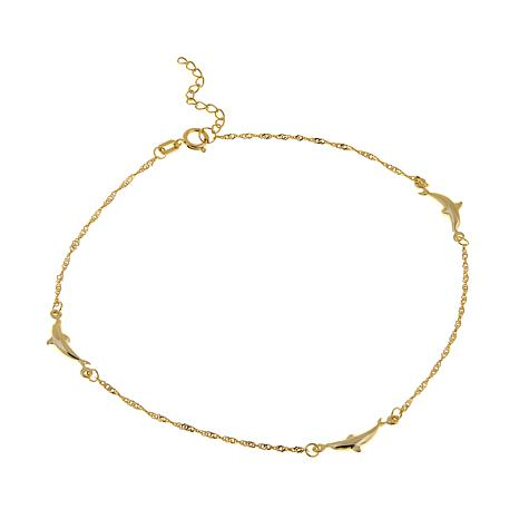 "Passport to Gold 14K Yellow Gold Dolphin 9"" Anklet"