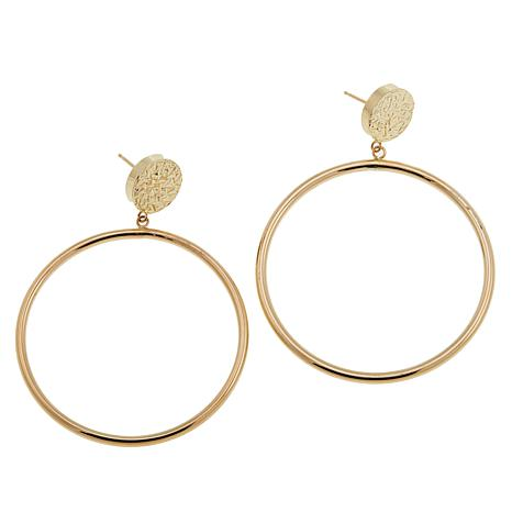 Pport To Gold 14k Yellow Polished Circle Drop Earrings