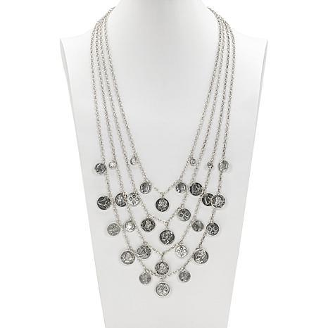 "Patricia Nash 30-1/4"" World Coin Multi-Row Dangle Necklace"