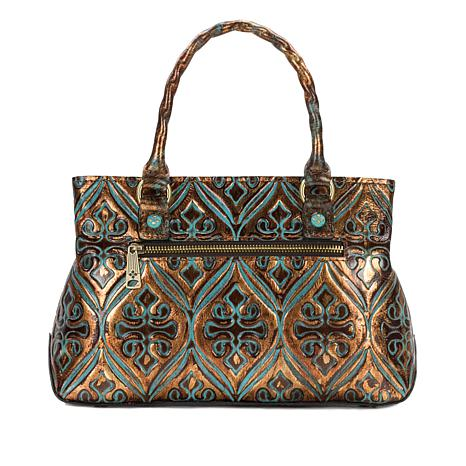 Patricia Nash Angela Venetian Tooled Leather Satchel