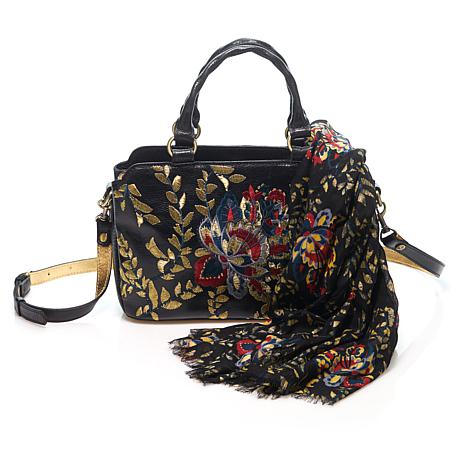 Patricia Nash Angelin Embroidered Leather Satchel with Scarf