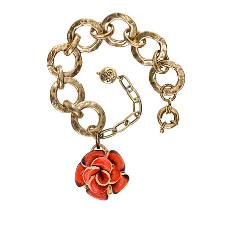 Patricia Nash Celeste Leather Flower Drop Bracelet