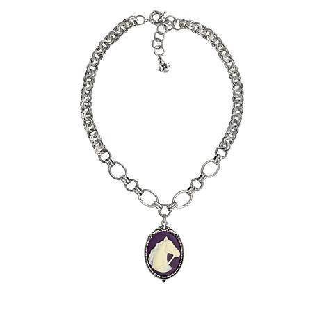 "Patricia Nash Equestrian 21"" Cameo Pendant Necklace"