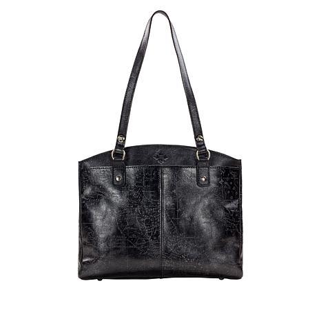 Patricia Nash Poppy Metallic-Embossed Leather Zip Tote
