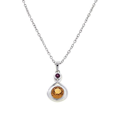 Paul Deasy Gem 2.02ctw Hessonite and Rhodolite Pendant with Chain