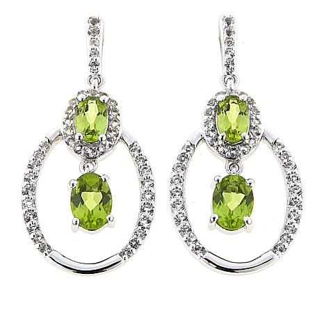Paul Deasy Gem 2 9ctw Arizona Peridot And White Topaz Drop Earrings