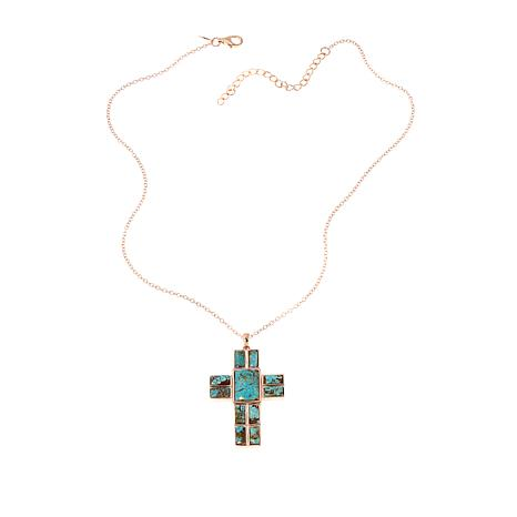 Paul Deasy Gem Rose Gold-Plated #8 Turquoise Cross Pendant with Chain