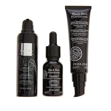 Perlier Platinum Black Rice 3-piece Face Serum Set