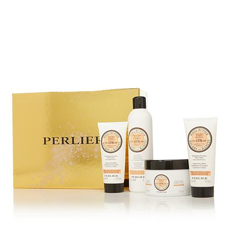 Perlier Shea Butter Tuberose 4-piece Bath and Body Set with Box