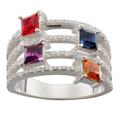 Personalized Birthstone Crystal and CZ 4-Row Band Ring