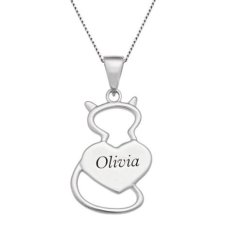 Personalized Sterling Cat and Heart Pendant with Chain
