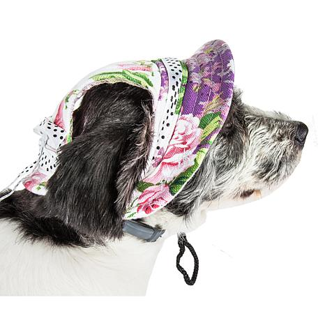 Pet Life Botanic Bark Floral Adjustable Canopy Brim Dog Hat - Medium