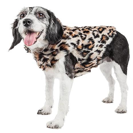 Pet Life Luxe Lab-Pard Dazzling Leopard Pattern Faux Mink Fur Dog Coat