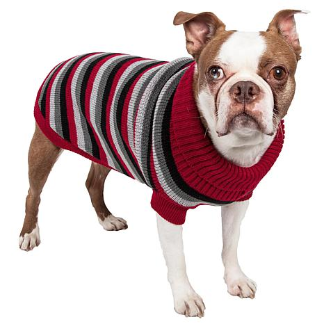 Pet Life Polo-Casual Lounge Cable Knit Designer Turtleneck Dog Sweater
