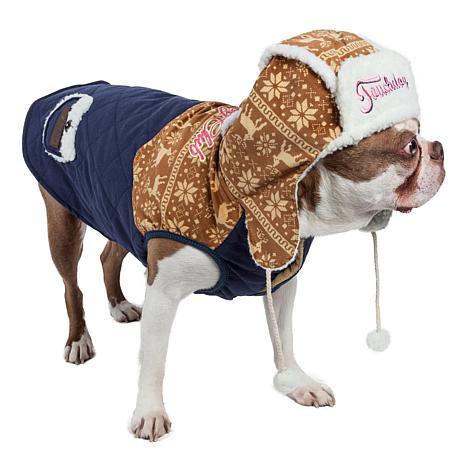 Pet Life Touchdog Snowadayz Pom-Pom Pet Hooded Sweater