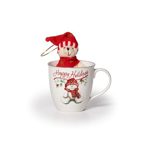 Pfaltzgraff Winterberry Happy Holidays Mug and Bear