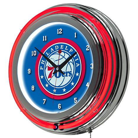 Philadelphia 76ers Double Ring Neon Clock