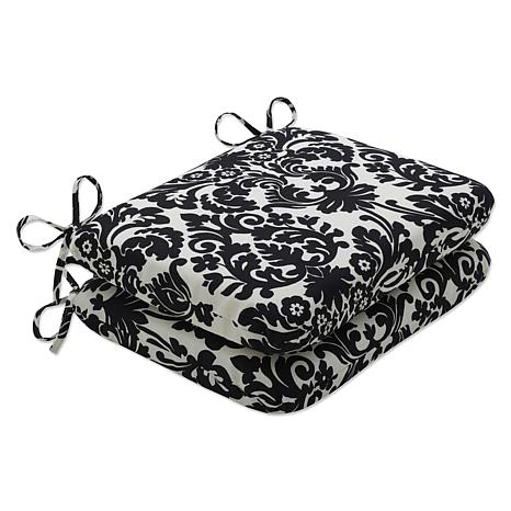Pillow Perfect Set of 2 Seat Cushions - Black|Beige