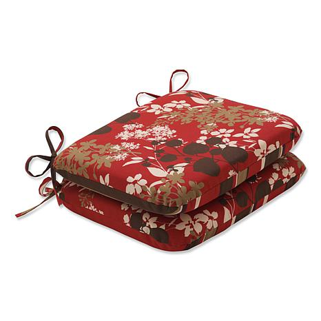 Pillow Perfect Set of 2 Seat Cushions - Red Floral