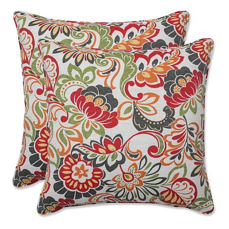 Pillow Perfect Set of 2 Zoe Square Pillows - Multi