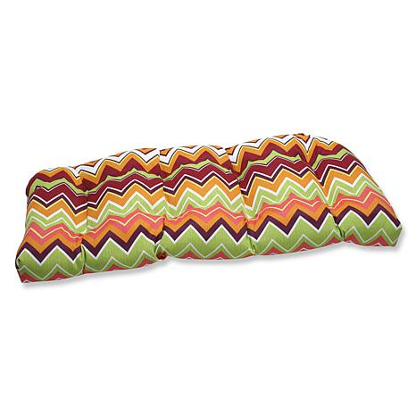 Pillow Perfect Zig Zag Wicker Loveseat Cushion- Limeade