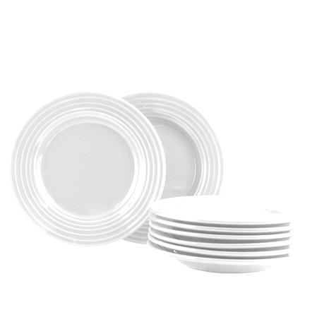 Plaza Cafe 8.5 inch Dessert Plate Set in White, Set of 8