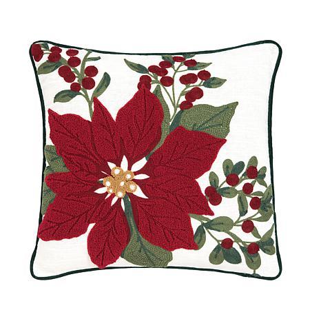 Poinsettia Berry Chain Stitch Pillow