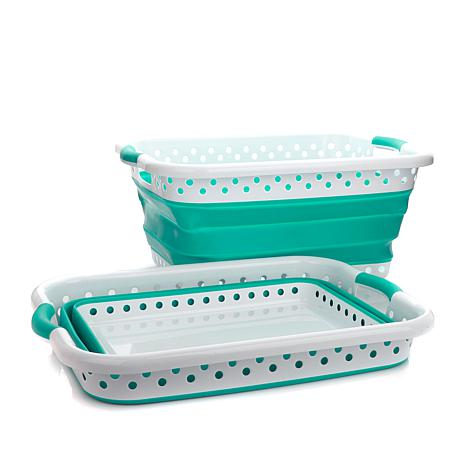 Pop & Load Collapsible Laundry Basket 2-pack - 8211403 | HSN