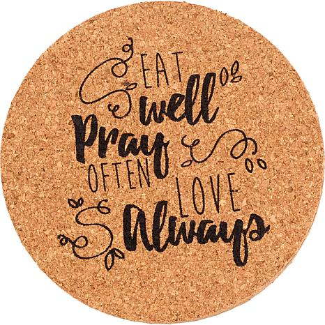 Precious Moments Eat Well Pray Often Love Always 4-piece Cork Coasters