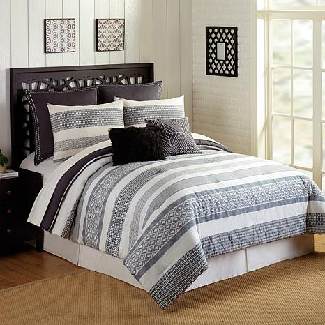 Presidio Square Deco Stripe 7pc Comforter Set - King