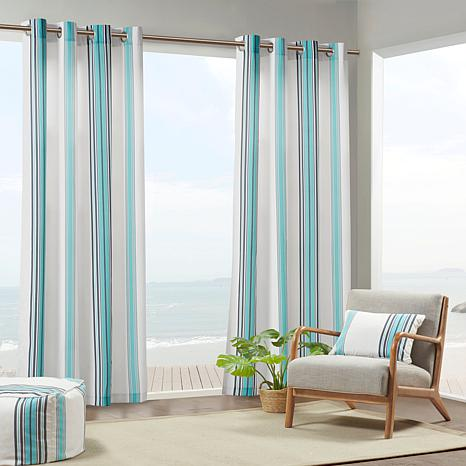 "Print Stripe 3M Scotchgard Curtain Blue/White/54"" x 84"""
