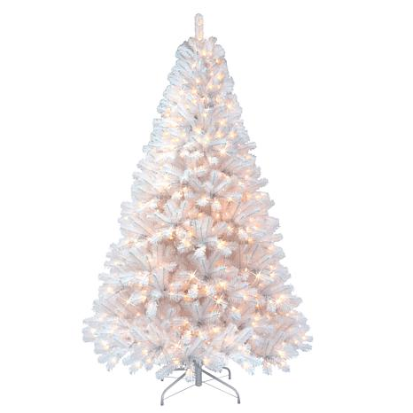 Puleo 7.5 ft. White Noble Fir Artificial Christmas Tree w/600  Lights