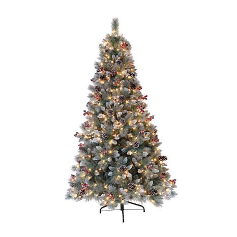 Puleo International 7.5' Pre-Lit Potted Sterling Pine  Christmas Tree