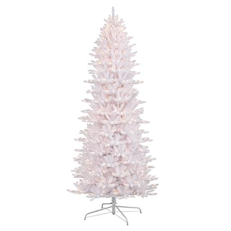 Puleo International 9 Pre Lit White Slim Fraser Fir Christmas Tree