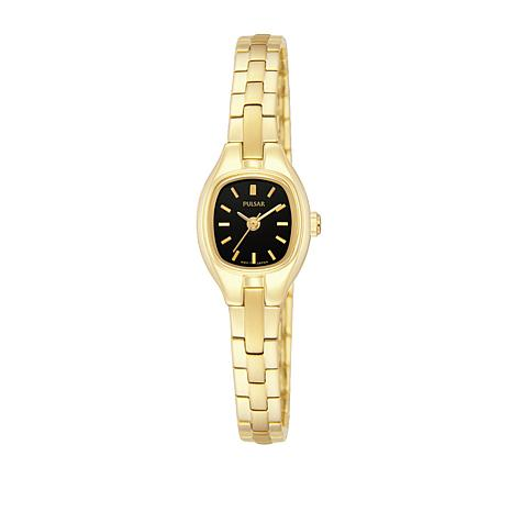 Pulsar Ladies Goldtone Black Dial Bracelet Watch