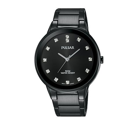 Pulsar Men's Black Stainless Steel Bracelet Watch with Crystal Markers