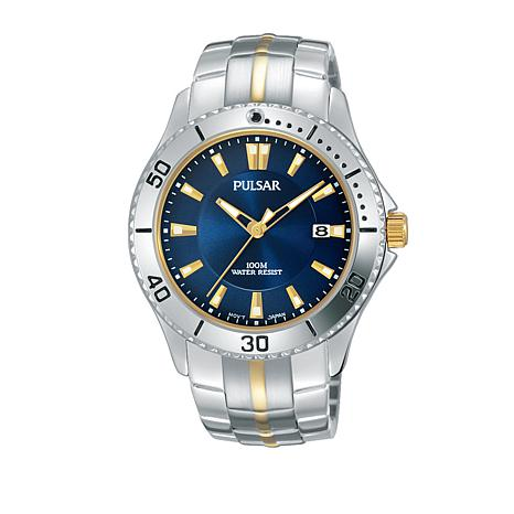 Pulsar Men's Blue Dial 2-Tone Stainless Steel Bracelet Watch