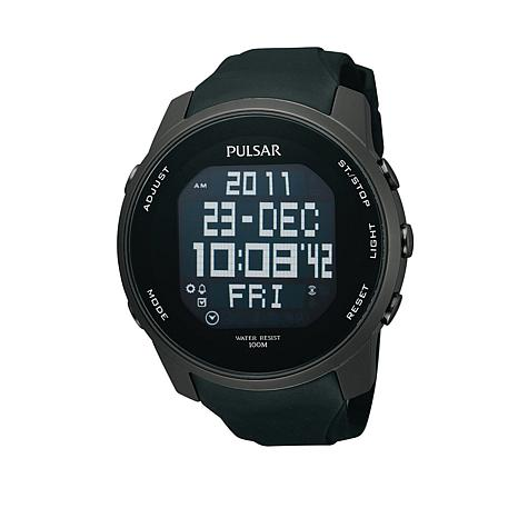 Pulsar Men's Digital Black Stainless Steel Strap Watch