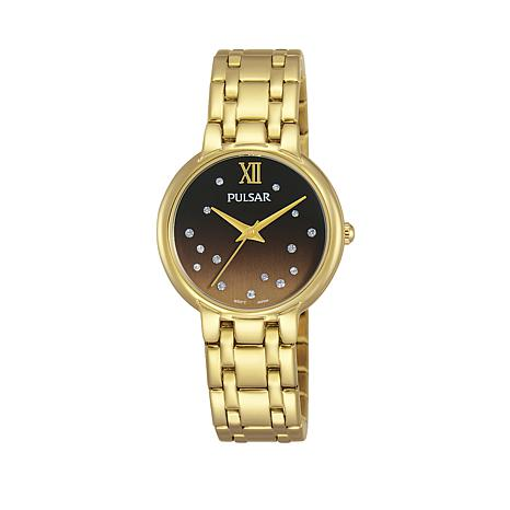 Pulsar Women's Goldtone Crystal-Accented Ombré Dial Bracelet Watch