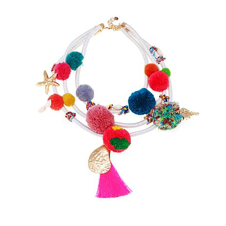 Rara Avis by Iris Apfel 3-Row Faux Fur Pom-Pom Necklace